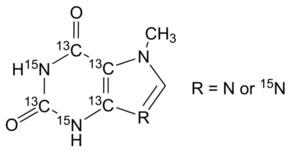 7-Methylxanthine-2,4,5,6-13C4, 1,3-15N2 (with variable 15N labeling at N9)